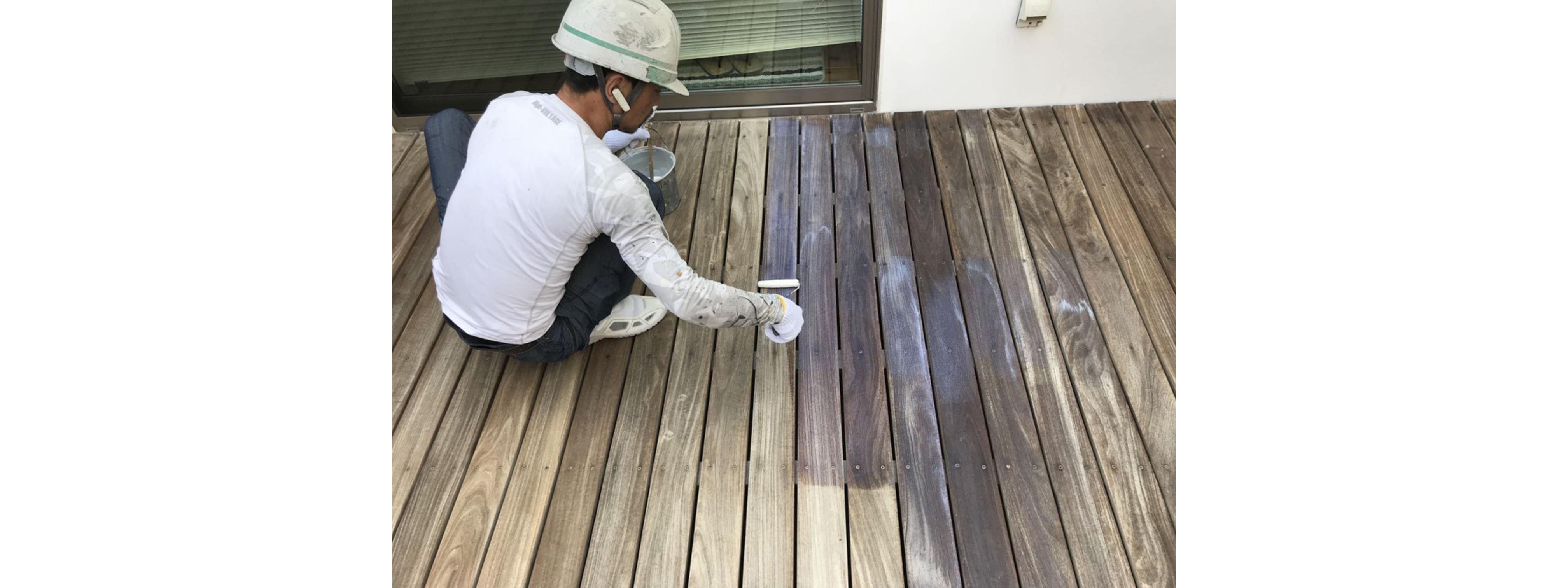 液体ガラス塗料1回目施工中